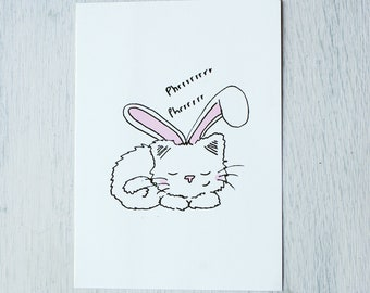 Card-cat with rabbit ears spinning