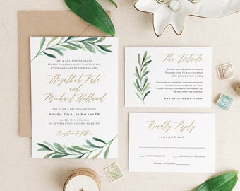 Greenery Wedding Invitation Template, Printable Wedding Invitation, Invitation Suite, Botanical Calligraphy   Edit in Word or Pages