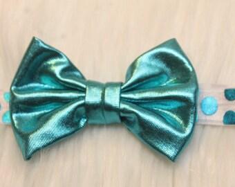 Turquoise Headband - Baby Headband - Toddler Headband - Newborn Headband - Turquoise Bow -Polka Dot Headband - Metallic Bow