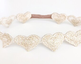 Gold metallic heart baby headband newborn prop