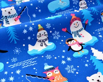 American fabric snowman snow and Northern animals x 50cm