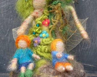 Needle Felted Family Tree, Parents and Children, Mother, Father, Felted Family, Design by Borbala Arvai, Beautiful OOAK gift for Families