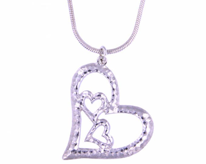 Silver Three hearts pendant – textured sterling silver openwork pendant on 16″ sterling silver snake chain Hand Made in UK