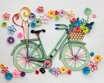 Quilling Art. Quilled Paper Artwork. Wall Decor Framed - handmade with paper bicycle with flower basket.