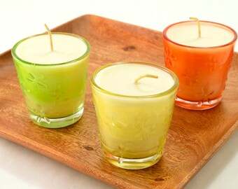 Spring Candles Container Soy Candle Shabby Chic Dragonflies Flowers Glass Container Candles Spring Season Decors Choose Yellow Orange Green