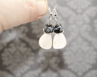 Snowflake Obsidian Earrings, Obsidian Earrings, Snow Agate Earrings, Black and White Earrings