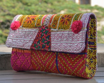 Indian Pink Clutch with Pompoms