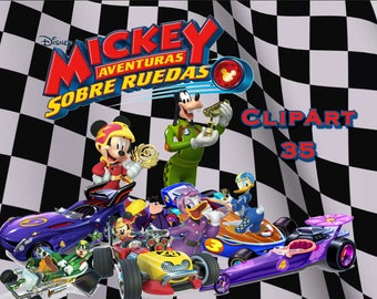 35+.. Mickey and roadster racers ClipArt - Digital , PNG, image, picture, drawing,llustration, art , birthday,handicraft