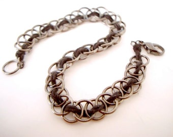 Black Jump Rings Bracelet basic simple bracelet with gunmetal jump rings and black cotton cord