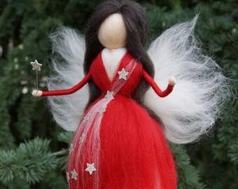 Christmas fairy Needle felted wool fairy Waldorf Felted Doll  Christmas favor Nursery Decor