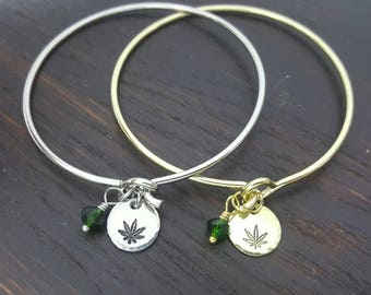 cannabis leaf charm bracelet bangle- Silver or Gold, Handmade by the toke shop