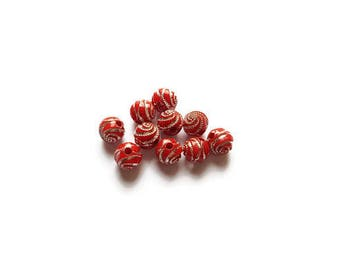 Spiral Red 8mm round beads