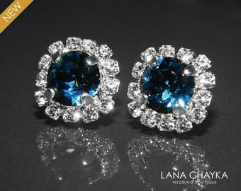 Navy Blue Crystal Halo Earrings, Swarovski Montana Blue Rhinestone Silver Earrings, Dark Blue Sparkly Studs, Wedding Bridesmaid Prom Jewelry