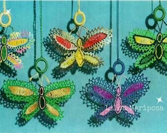 Crochet Butterfly Pattern Vintage 70s Crochet Ornament Crochet Butterflies Applique Pattern Crochet Light Pull Pattern