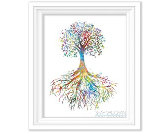 Tree Roots Art Print Watercolor Art Poster Tree Painting Illustration Wall Art Wall Decor Home Decor Wall Hanging Gift (No 191)