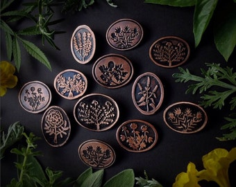 Herb Pins - Etched Copper  - handmade from copper in my studio - Pick one - by Jamie Spinello - handmade in Austin, Tx