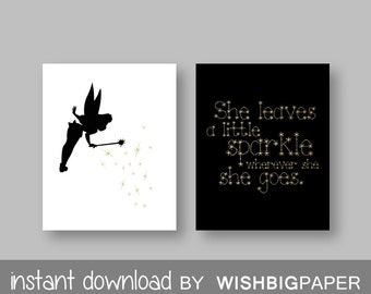 TINKERBELL Quote Wall art Print - Instant Download-Set of two (2).Peter Pan Quote Art. Tinkerbell Quote Art.Black Gold Tinkerbell Art. Sets
