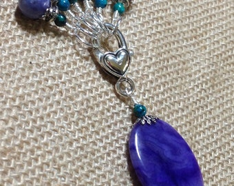 Purple Agate Stitch Marker Holder & Stitch Markers | Knitting Gift | Snag Free