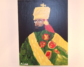 Original Acrylic Haile Selassie Portraits King of Kings Painting Adam Conz
