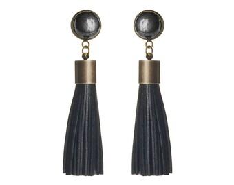 HEMATITE gemstone + leather tassel earrings