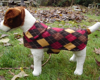 Dog Jacket - Brown Red and Gold Argyle Fleece Dog Coat- Size Small- 12-14 Inch Back Length