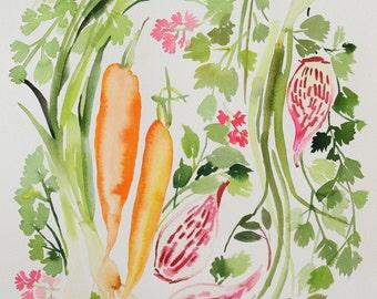"Damaged 12"" x 16"" Vegetable Medley - Original Painting"