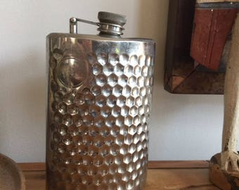 Vintage Alcohol or Whiskey Stainless Steel Drinking Hip Flask