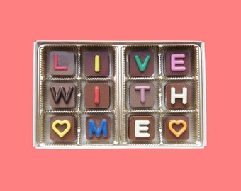Live With Me Girlfriend Gift for GF Wedding Proposal Will Would You Marry Me I Love You Chocolate Message Box Romantic Gift Idea for Her Fun