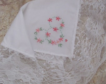 Vintage Solid White Wide Lace Wedding Hankie
