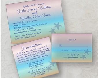 Star Fish Wedding Invitation Digital Download, Printable Wedding Invitation, Beach Wedding Invitations, Destination Invites, Wedding Invite