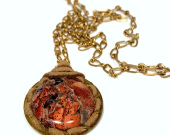 Rustic Copper Pendant, Pendant Necklace, Leather Pendant, Copper Necklace, Rustic Necklace, Rustic Jewelry, Copper Jewelry, Gemstone Jewelry