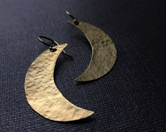 Gold Crescent Moon Earrings - Hammered Brass