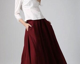 Burgundy skirt, linen skirt, long linen skirt, wine red skirt, women linen skirt, skirt with pockets, women linen clothing (910)