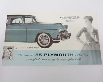 Vintage 1955 Plymouth Belvedere Car Sales Brochure Catalog Fashion Retro Station Wagon Sedan Sport Coupe
