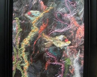 "Original Fiber Art 'Two Fish' Collage Needle Felt Art 6""x8"" Hand Dyed Silks Alpaca Wool Multi Color Fish in Water Unique Framed Shippingd"