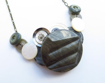 O Sage vintage button statement necklace