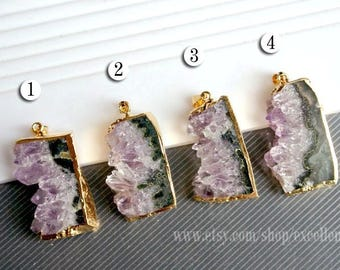 Druzy pendant Druzy Amethyst pendant Gold plated Edge Natural Amethyst Pendant in Natural color Jewelry Making JSP-7307