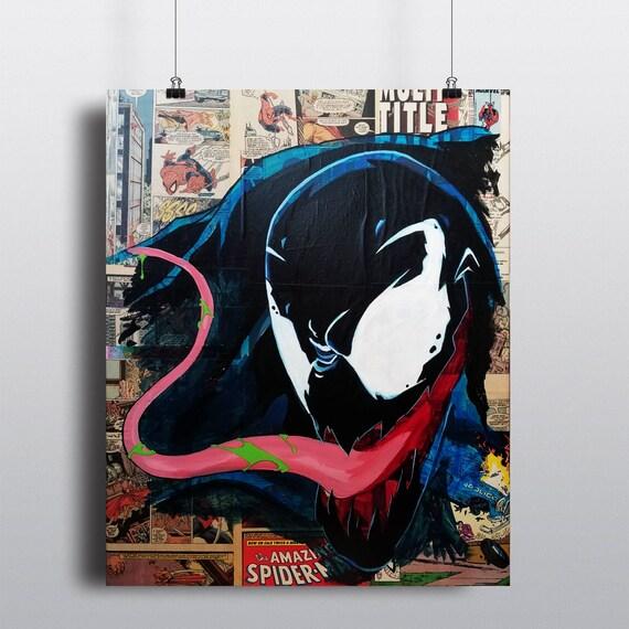 Venom Collage Painting