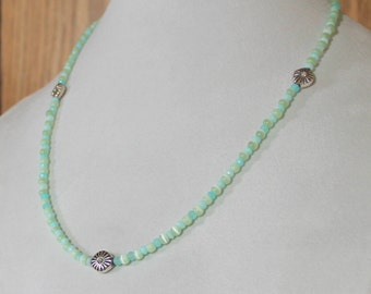 Blue Green Larimar and Cat's-Eye Necklace
