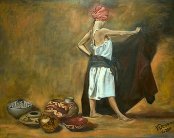 Girl with jugs, original oil painting for sale, portrait of a young women, artwork for sale