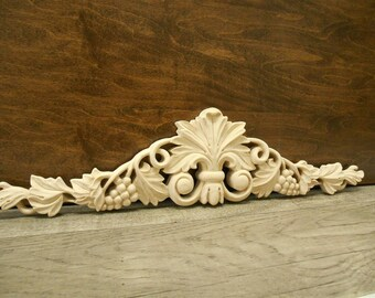 """Carved Applique - Grape  Onlay -16""""W x 3 3/4""""H x 3/4""""D - Small Carvings -Maple Carved Applique -Grape Applique -ref.Ma20s"""