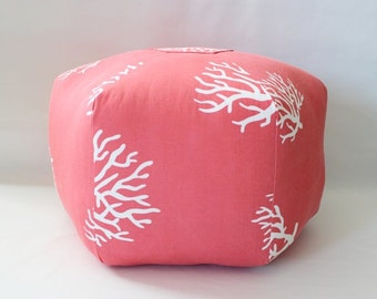 Coral Pouf, Floor Pillow, Pouf Ottoman, Beach Decor,Nautical Decoration, Floor Cushion, Beach House Decor, Coral Pillow, Large, Stool