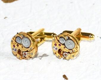 GIRARD PERREGAUX Steampunk Cufflinks: Very RARE Luxury Swiss Gold Vintage Watch Movement Men Steampunk Cufflinks Cuff Links Fathers Day Gift