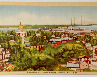 Annapolis MD, US Naval Academy, Vintage Postcard, Linen postcard, bright and colorful