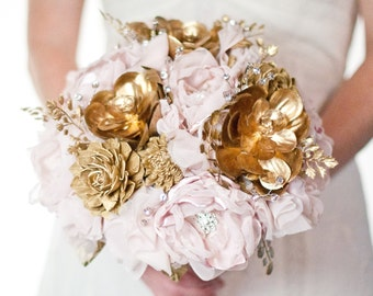 SALE Brooch Succulent Bouquet Alternative, blush and gold fabric brooch bouquet,  gold succulent, artificial bouquet, vintage glam bouquet