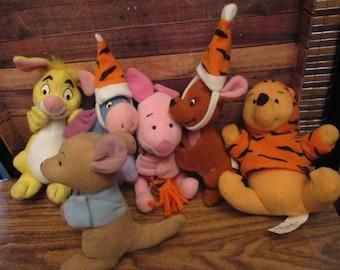 McDonalds Winnie the Pooh Toy Beanies, Eeyore, Pooh, Kanga, Rabbit, Roo Dressed as Tigger (1990s)
