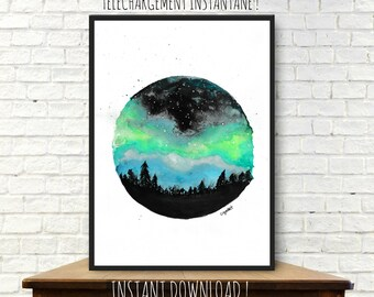 Instant download from original watercolor painting, northern lights watercolor, illustration, room decor, aurora borealis, printable