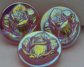 Small Rosebud Czech Glass Button (3)