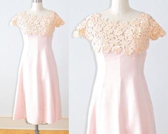 1940s Dress, 40s Garden Party Dress, Pink Lace 40s Dress, Summer Romance