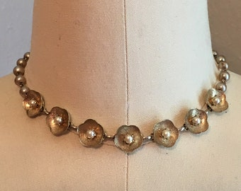 60's Soft Gold Floral Choker with Pearl Centers